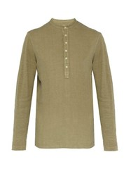 120 Lino Henley Long Sleeved Linen T Shirt Khaki
