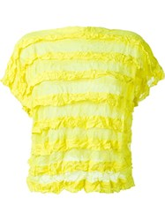 Issey Miyake Cauliflower Ruffle Stripe Semi Sheer T Shirt Yellow And Orange
