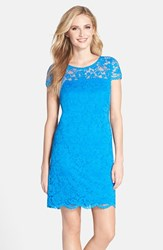 Women's Donna Ricco Illusion Yoke Scalloped Lace Shift Dress Bright Blue