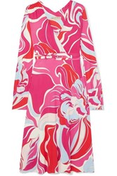 Emilio Pucci Belted Printed Wrap Effect Stretch Jersey Dress Pink