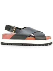 Marni Fussbett Crossover Sandals Women Calf Leather Leather Rubber 39 Black