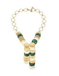 Robert Lee Morris Neutral Territory Two Toned Layered Disc Y Necklace Green