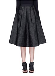 Mo And Co. Mickey Mouse Jacquard Flare Midi Skirt Black