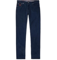 Isaia Navy Slim Fit Cotton Blend Corduroy Trousers Navy