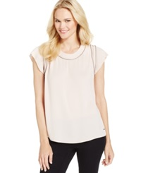 Calvin Klein Jeans Zipper Trim Scoop Neck T Shirt Peach Whip