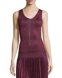 Christopher Kane Metallic Scoop Neck Tank Pink