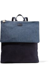 Clare V. V Agnes Denim And Canvas Backpack Midnight Blue