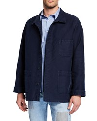 Le Mont St Michel Stone Washed French Worker Jacket Navy