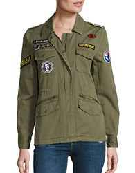 Velvet By Graham And Spencer Andreea Patch Cotton Army Jacket Green