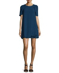 See By Chloe Puffed Short Sleeve Shift Dress Navy