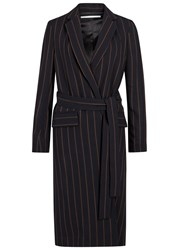 Rosetta Getty Midnight Blue Pinstriped Wool Wrap Jacket Navy