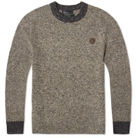 Fred Perry Irish Donegal Crew Neck Sweater Grey Marl