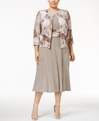 Jessica Howard Plus Size Empire Waist Dress And Printed Jacket Taupe