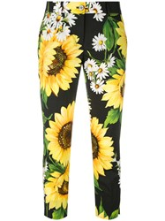 Dolce And Gabbana Sunflower Cropped Trousers Women Cotton 46 Black