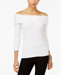 Ny Collection Marilyn Off The Shoulder Top Winter White
