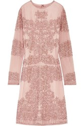 Mikael Aghal Embellished Tulle Dress Antique Rose