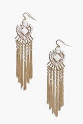 Boohoo White Stone Heart Chandelier Earrings Gold