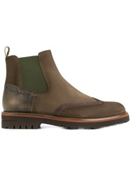 Brimarts Panelled Ankle Boots Leather Rubber Brown