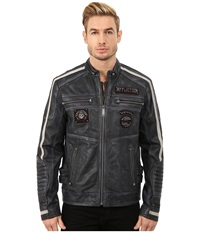 Affliction American Rebel Leather Moto Jacket Pacific Blue Men's Coat
