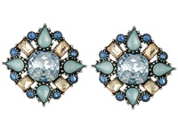 Betsey Johnson Cameo Critters Multi Stone Cluster Button Earrings Blue Earring
