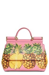 Dolce And Gabbana Miss Sicily Pineapple Leather Satchel