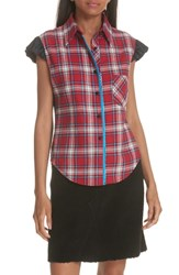 Harvey Faircloth Mixed Plaid Flannel Blouse Red