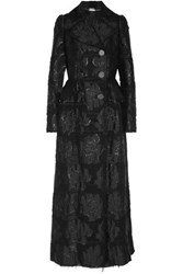 Alexander Mcqueen Metallic Boucle Jacquard Coat Black