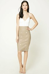 Forever 21 Faux Leather Button Front Skirt Taupe