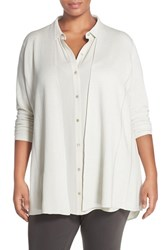 Plus Size Women's Eileen Fisher Lightweight Silk And Cotton Knit Straight Long Cardigan Bone