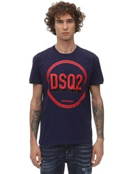 Dsquared Printed Very Very Dan Fit Cotton T Shirt Navy