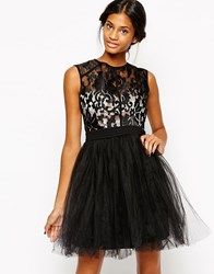 Little Mistress Babydoll Prom Dress With Baroque Effect Bodice Black Nude