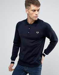 Fred Perry Texture Knit Jumper Stripe In Navy Navy