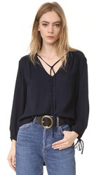 Frame Crepe Lace Up Shirt Navy