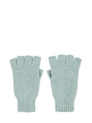 Johnstons Of Elgin Cashmere Fingerless Gloves Blue