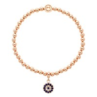 Melissa Odabash Glass Crystal Evil Eye Bracelet Rose Gold Blue