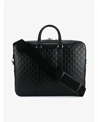 Gucci Logo Embossed Leather Briefcase Black Silver Grey