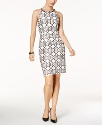 Nine West Beaded Geo Print Dress Black White