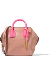 Stella Mccartney Mini Boston Neon Faux Smooth And Patent Leather Shoulder Bag Nude