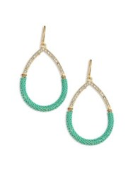 Abs By Allen Schwartz Going Coastal Chain Wrap Teardrop Earrings Green