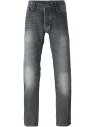 Armani Jeans Distressed Straight Leg Jeans Grey