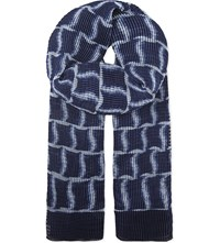 Armani Collezioni Crinkle Effect Scarf Navy
