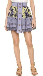Just Cavalli Lace Insert Ruffle Skirt Love Royal Print