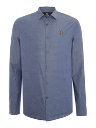 Lyle And Scott Long Sleeve Diagonal Stitch Shirt Navy