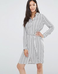 Soaked In Luxury Belted Striped Shirdress Multi Striped