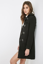 Forever 21 Hooded Longline Toggle Coat