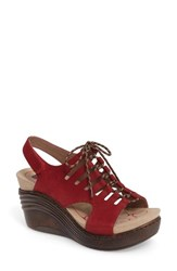 Bionica Women's Sirus Wedge Sandal Ruby Red Nubuck