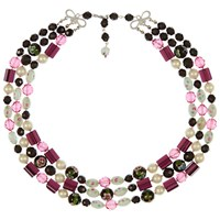 Eclectica Vintage 1950S Silver Plated 3 Row Glass And Enamel Bead Necklace Black Pink