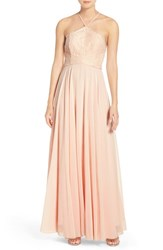 Lulus Women's Lulu's High Neck Lace And Chiffon Gown Light Peach
