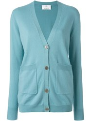 Allude V Neck Cardigan Blue
