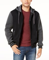 Ring Of Fire Men's Hooded Varsity Jacket Charcoal